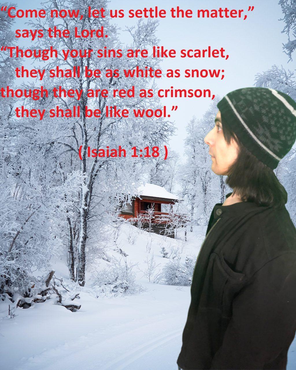 Motivational Bible verse on edited winter photo