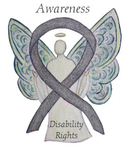 disability rights awareness angel ribbon pin