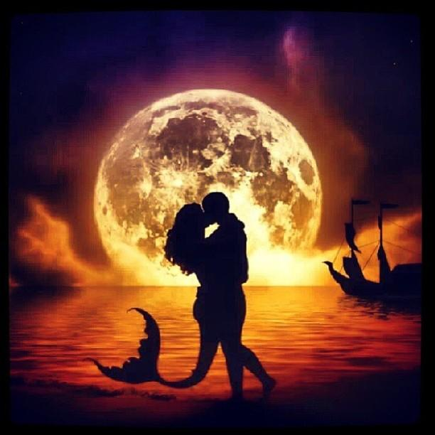 mermaid and pirate kissing silhouettes
