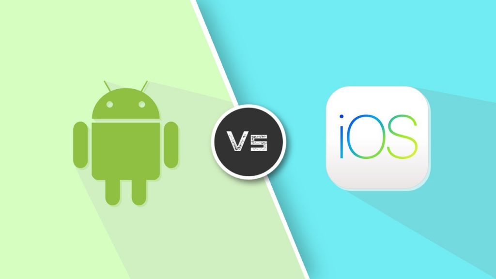 The Android OS and the iOS logos