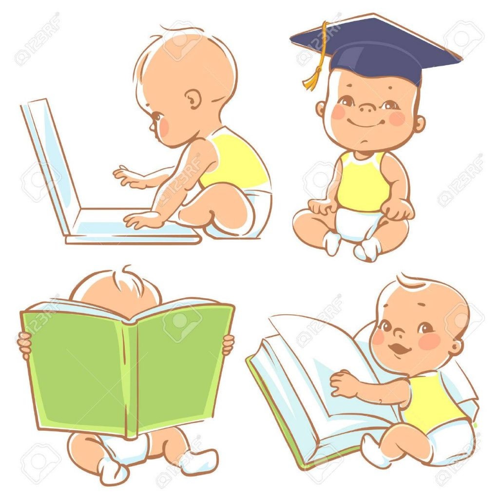 Drawings of babies reading and using laptop