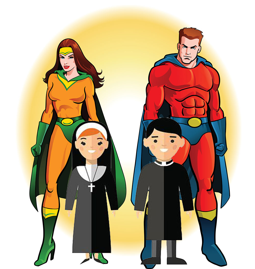 Drawings of male and female super heroes and children dressed as nun and priest
