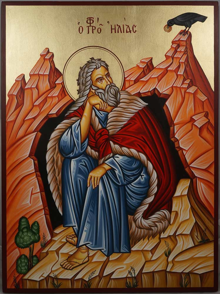Prophet Elias Elijah in front of the cave hand painted Greek Orthodox Icon