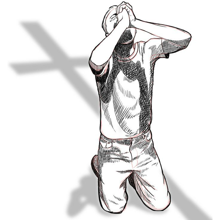 drawing of person praying on their knees to Christian cross
