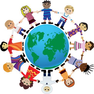 International Friendship Day 2020 drawing of people holding hands in a circle around the planet Earth