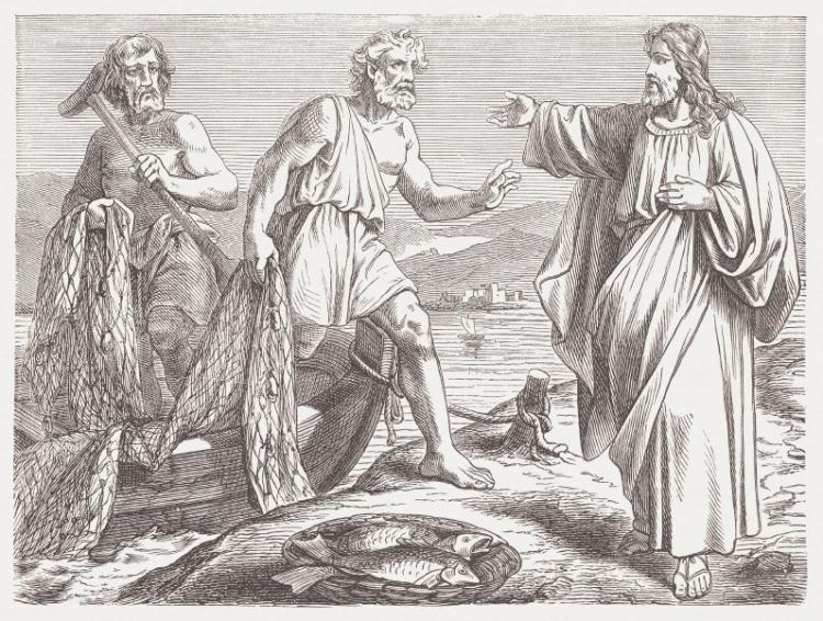 Drawing of Jesus and the apostles Andrew and Peter