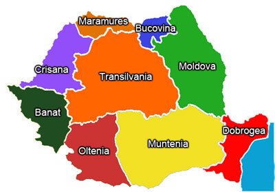 Regions of Romania map