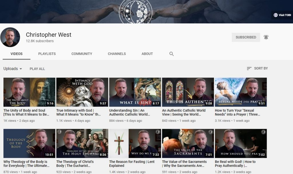 Christopher West YouTube channel screenshot